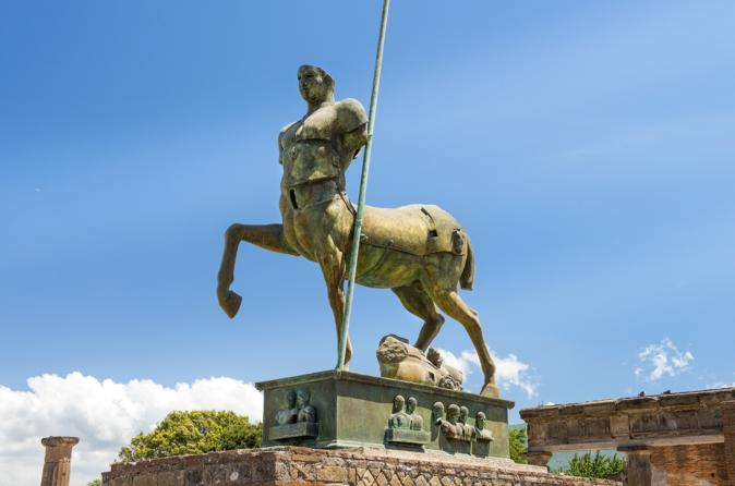 Roundtrip bus service and walking tour of Pompeii from Rome