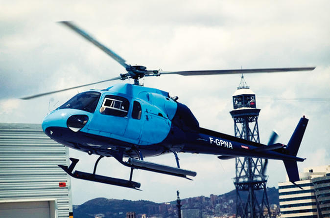 Barcelona Highlights: Walking Tour, Eco-Boat Cruise and Helicopter Flight