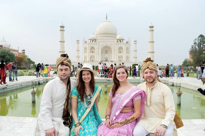 Private Tour: Agra Day Trip from Delhi with Taj Mahal Tour in Authentic Indian Dress and Local Family Visit