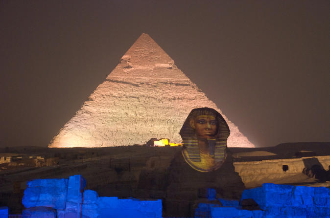 Sound and Light Show at Giza Pyramids including Private Transfer from Cairo