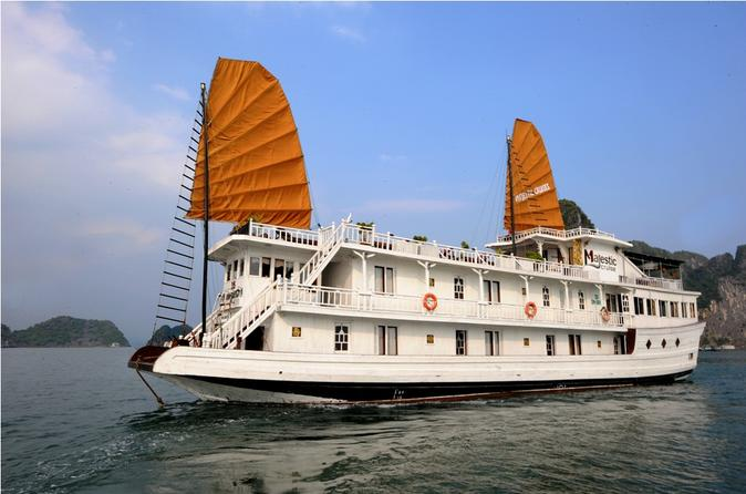Overnight Halong Bay Cruise Including Transfer Service and Kayaking or Bamboo Boat Activities